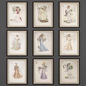 9 старинных модных гравюр