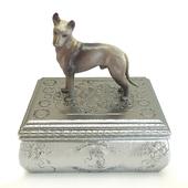 Casket with a sculpture of a dog