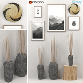 Decorative set of stone vases with branches, posters, a wall woven vase and stump.