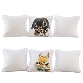 A set of 6 pillows with prints