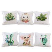 "Set of 6 pillows with prints ""watercolor animals and plants"" - Pillows Cute Animals 01"