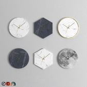 Marble Wall Clock Set