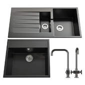 Kitchen set Ikea: Mixer HAMLESHEN and mortise washers HELLVIKEN