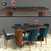 Tintori Mid Century Modern Dining Chair & Expandable Table