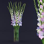 gladiolus bouquet in glass vase