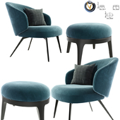 Lema Bice Occasional Arm Chair With Eaton Pouf