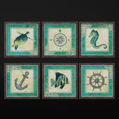 Aqua Maritime Anchor Print | set 5