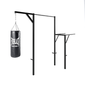 A tourniquet with bars and a punching bag.