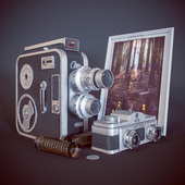 Vintage camera and Meopta camcorder