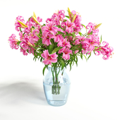 Vase lily red