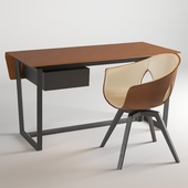 Table + chair Poltrona Frau Ginger Armchair & Fred Table