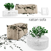 Rattan Outdoor Sofa with Ivy
