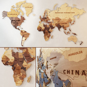 A world map made of wood.