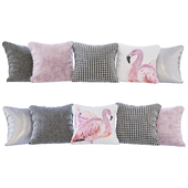A set of pillows with prints: flamingos, pink velvet, chevron goose paw and silver (Pillows flamingo pink velvet chevron houndstooth and silver)