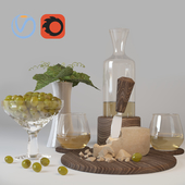 Decorative set of wine, cheese and grapes