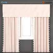 Light pink curtains with pom-poms from Restoration hardware - RH Baby & Child.