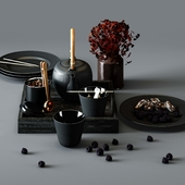 BLACK FLUTED set - thermal teapot, plates and cups