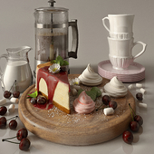 Kitchen set with cofee and cherry cheesecake