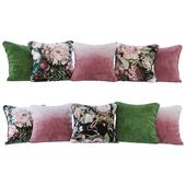 A set of pillows of cherry, green and with flowers (Pillows cherry green and flowers YOU)