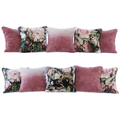 Set of cushions cherry gradient and flowers 02 (Pillows cherry gradient and flowers 02 YOU)