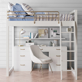 Waverly loft desk bed set from Pottery Barn