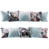 Set of pillows blue and with flowers (Pillows light blue and flowers YOU)