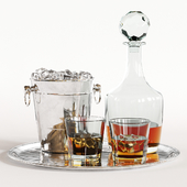 Whiskey Decanter Glass Tray Set