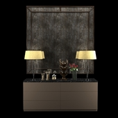 Cabinet with table lamps, mirror, sculpture, candles and roses 2