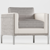 Ebbie Modern Classic Plaid Gray Wood Armchair
