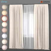 Светлые шторы в восьми цветовых оттенках с белым тюлем.