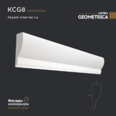 "Gypsum cornice - KCG8. Dimensions (50x170x1000). Exclusive series of decor ""Geometrica""."