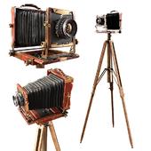 Vintage camera on a tripod