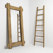 Mirror and stepladder in the style of country. Mirror and ladder in rustic style
