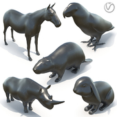 5 скульптур животных чёрный мрамор