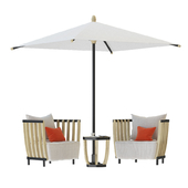 Swing Lounge Chair Tabel Coffee and Swing Parasol