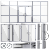 Glass fire doors and partitions, a set of handles