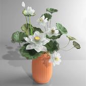 White Lotus Water Lily Vase