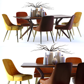 West Elm Mid-Century Leather Chair and Wright Table