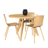 Vitra Table Gueridon & HAL Ply Wood Chair
