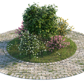 Flowerbed with bushes and grass
