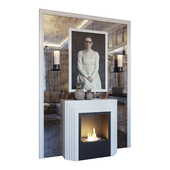 Fireplace, sconce, picture, decor and mirror panel (Fireplace sconce picture and decor YOU)