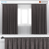 Dark brown thick wide curtains with white tulle.