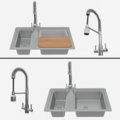 STEEL SINK + Groove Kitchen Sink Mixer Tap Chrome and accessories