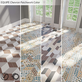EQUIPE Chevron / Patchwork Color / Blanco / Crema / Gris / Marron / Negro