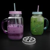 Mason jar mug with yogurt and mojito