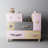Children's dresser with color boxes