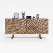 VIG_Modrest_Finley_Walnut_Buffet 4 Doors W / Interior Shelves Modern Contemporary