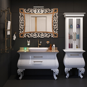 A set of furniture and sanitary ware for the bathroom Gaia Mobili # 9, tile Kerama Marazzi
