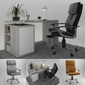 JUSK / Office Chair GADBJERG Memory Foam & Writing Desk ULLITS