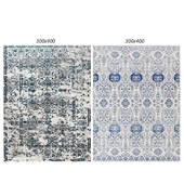 Temple and webster:Irtish Navy & Grey Power Loomed Modern Rug, White and Blue Power Loomed Rug